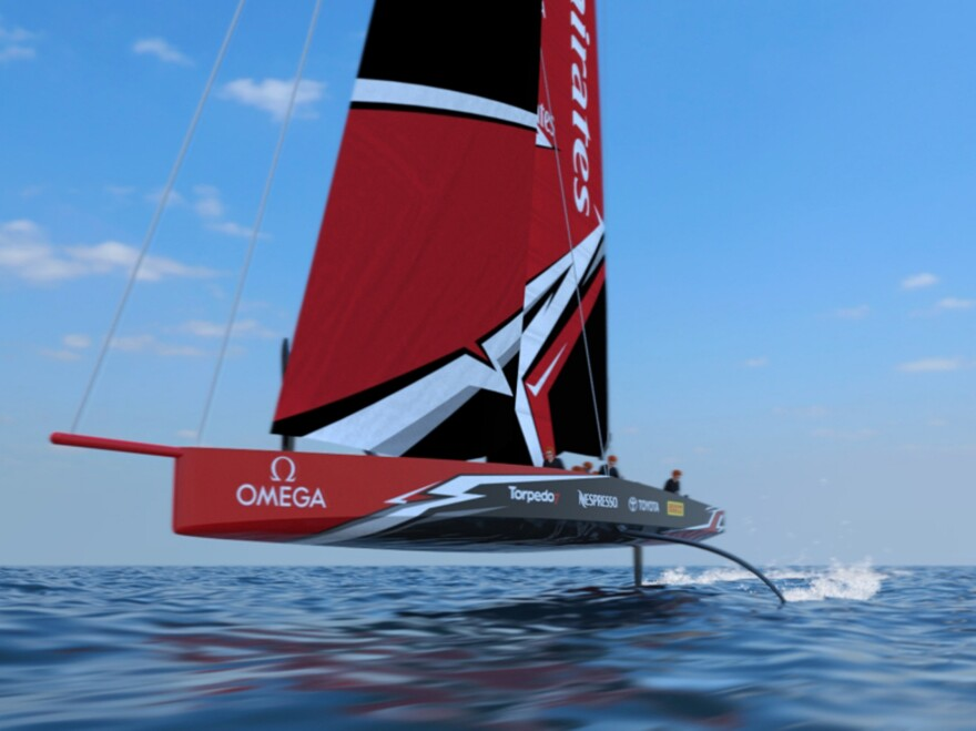 This undated concept drawing shows a radical fully foiling monohull, the AC75, for the 2021 America's Cup, created by Emirates Team New Zealand.