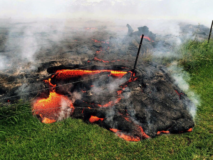 A lava flow advances across the pasture between the Pahoa cemetery and Apaa Street, engulfing a barbed wire fence, near the town of Pahoa on the Big Island of Hawaii on Sunday.