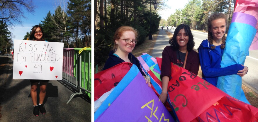 """Left: Wellesley student Sabrina D'Souza says of the school's kissing tradition, """"They're running 26 miles; they deserve something!"""" Right: Wellesley students Erin Altenhof-Long (from left), Sravanti Tekumalla and Kendra Waters say it took students a week and a half to create all 800+ signs for the race."""