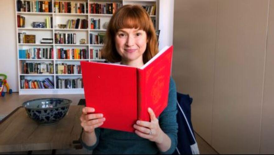 Ellie Kemper reading Dickens.JPG
