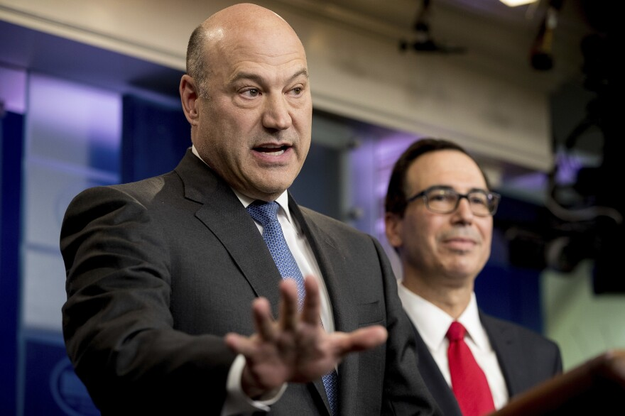 National Economic Council Director Gary Cohn, accompanied by Treasury Secretary Steve Mnuchin, discusses President Trump's tax proposals in the briefing room of the White House on Wednesday.