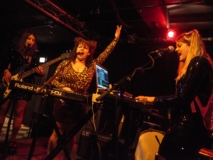 Lilith and Pushflowers as Spice Girls, playing the 2018 Allston Pudding Halloween Party at Great Scott.