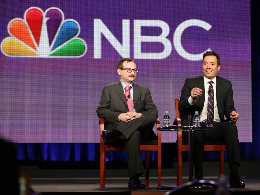 Producer Josh Lieb (L) and host Jimmy Fallon talk to critics on Sunday about what's to come.