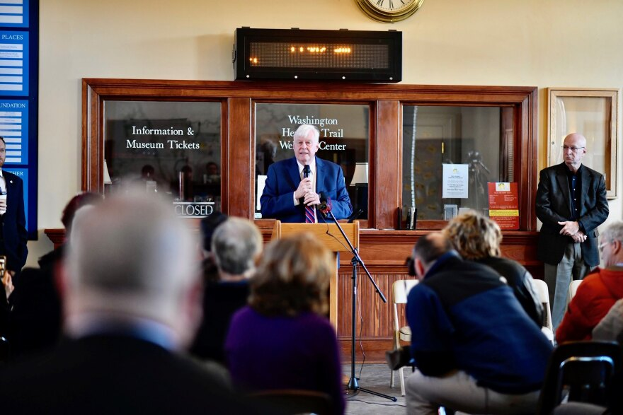 Gov. Justice's Chief of Staff Mike Hall announces the agreement with Maryland to continue the MARC train service in W.Va. at a press conference in Martinsburg on Dec. 19, 2019.