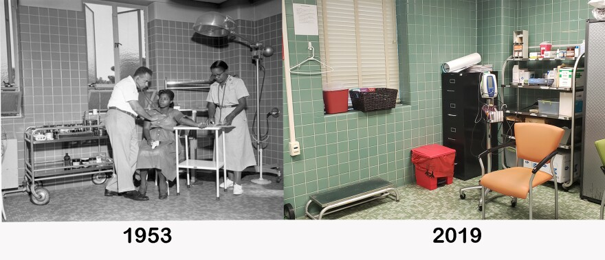A black-and-white image next to a colored one, showing a clinic room from the past and present