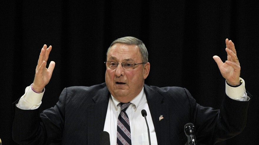 Gov. Paul LePage holds a town hall meeting at Biddeford High School on April 19.