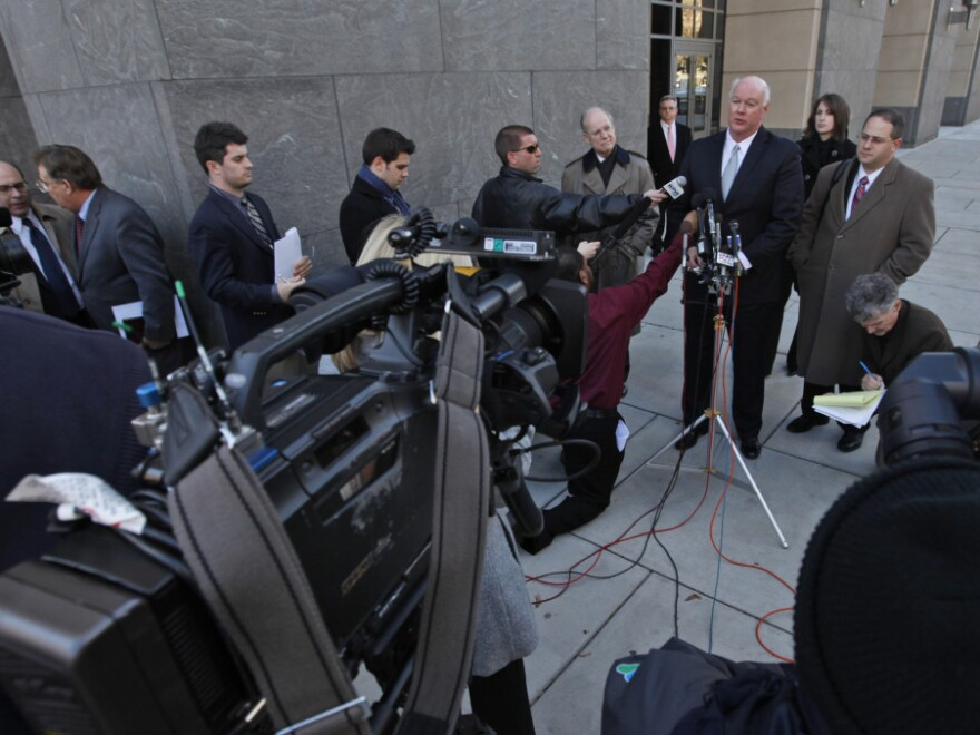 Joseph Nixon, attorney for the Rick Perry campaign, speaks to the media outside federal court in Richmond, Va., last week. A federal judge refused Perry and other candidates' request to be added to the Virginia ballot.