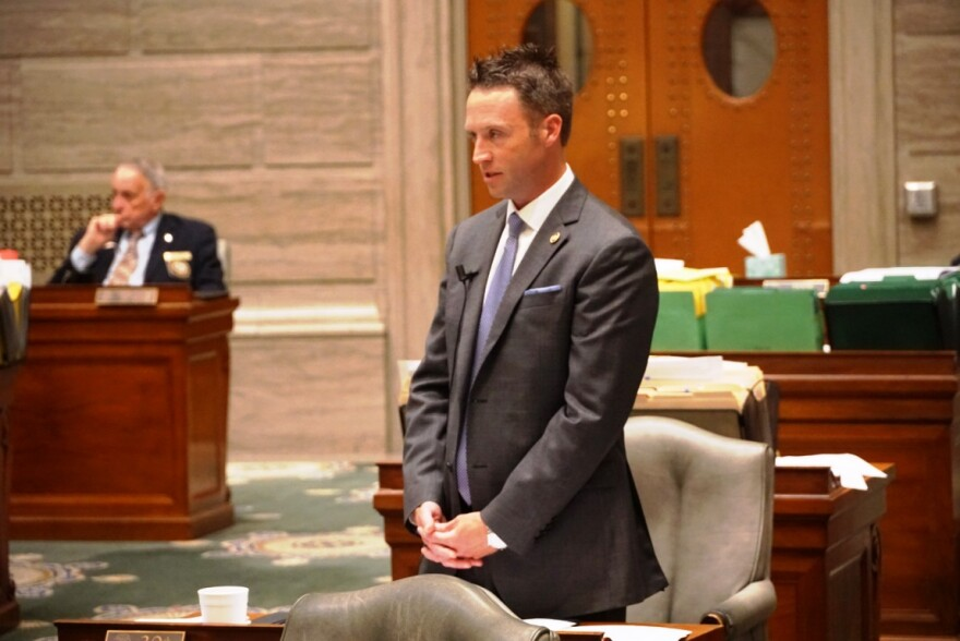 Sen. Lincoln Hough, R-Springfield, speaks on the Senate floor Tuesday about his economic development legislation. The Senate passed Hough's bill after a 28 hour filibuster.