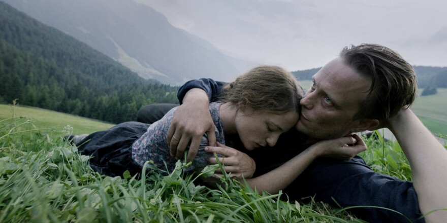 Franziska (Valerie Pachner) and Franz (August Diehl) find a moment of solace in Terrence Malick's <em>A Hidden Life</em>.