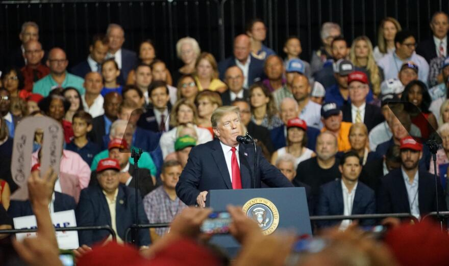 President Donald Trump speaks at the Tampa Fairgrounds during a rally July 31, 2018.