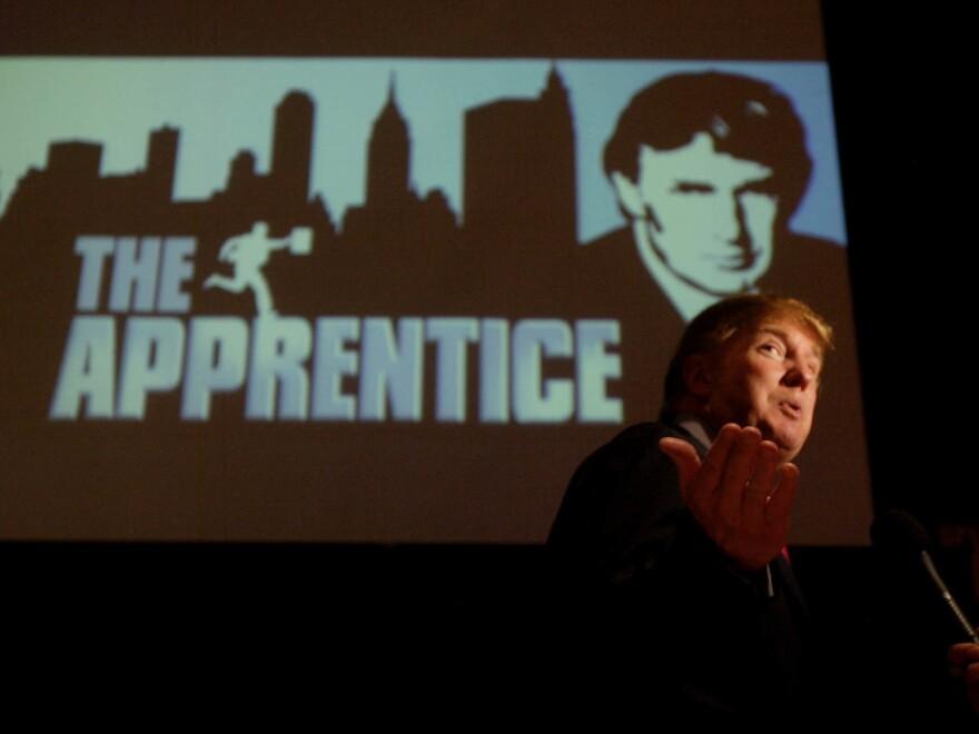 Donald Trump, seeking contestants for <em>The Apprentice</em>, is interviewed at Universal Studios in Los Angeles in June 2004.