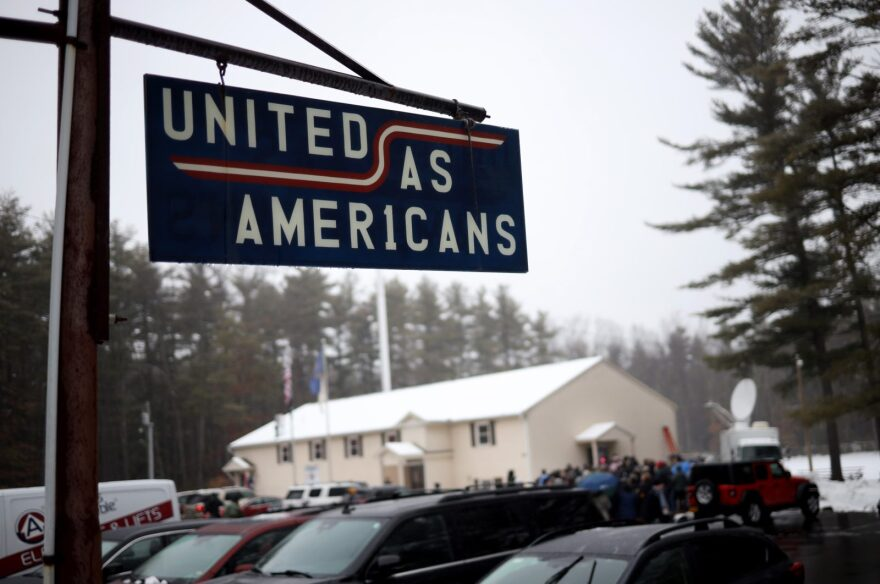 People line up to hear Democratic presidential candidate and former South Bend, Indiana, Mayor Pete Buttigieg speak at Merrimack American Legion Post 98 in Merrimack, New Hampshire.
