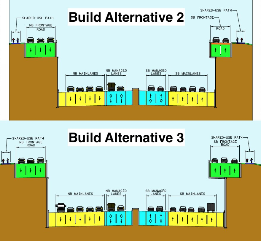 A comparison of two cross-sections of TxDOT's build proposals for I-35