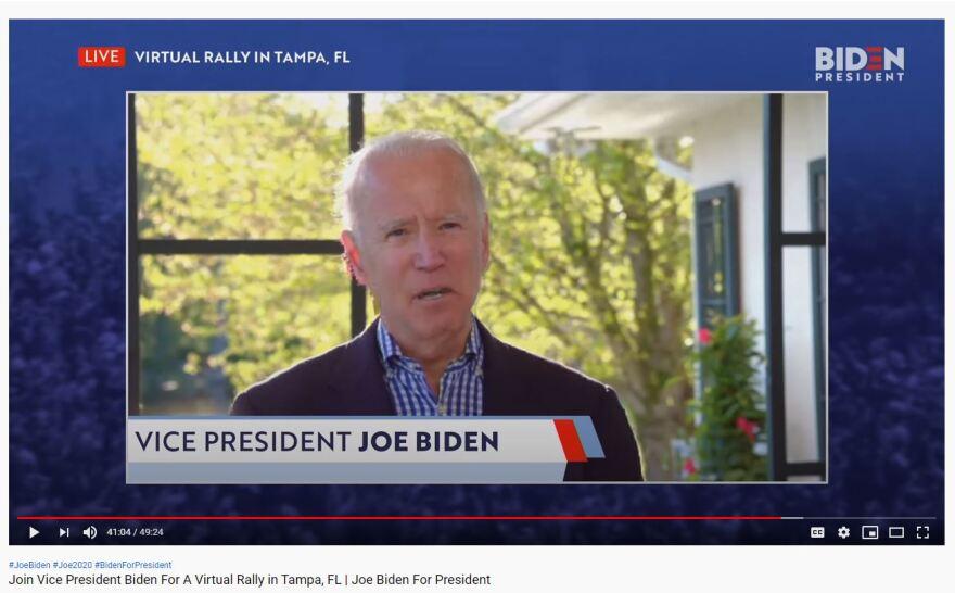 Joe Biden on the screen