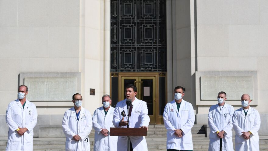 On Oct. 5, White House physician Sean Conley discusses President Trump's medical condition in front of Walter Reed National Military Medical Center in Bethesda, Md., where Trump was hospitalized with COVID-19.