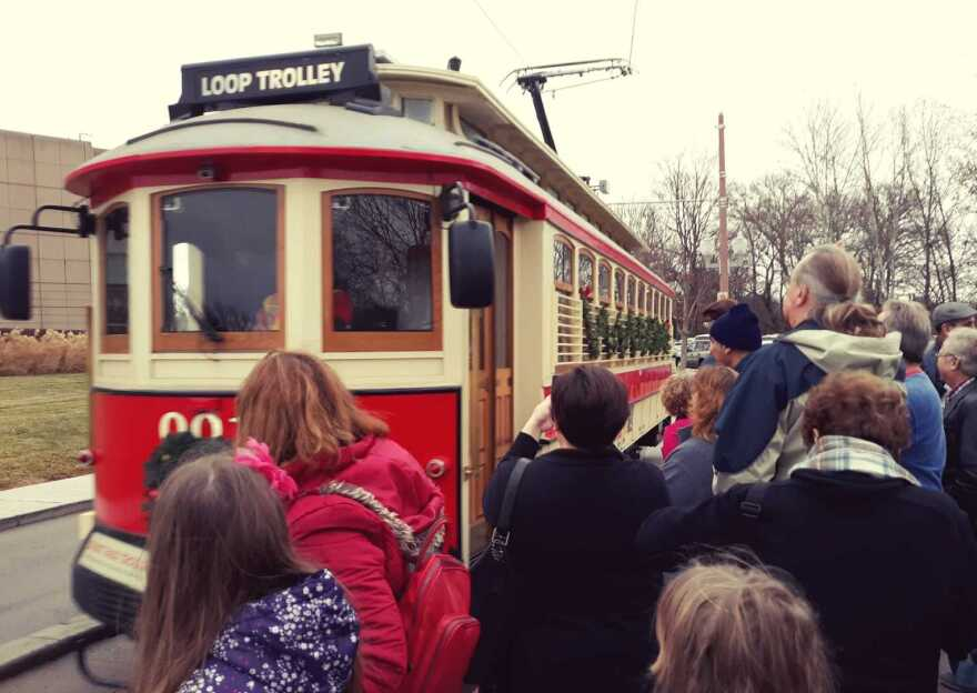 The Loop Trolley drew a crowd of people hoping to catch a ride on its last day Sunday.