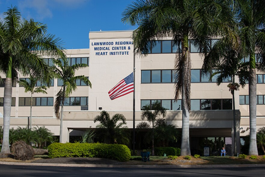 Lawnwood Regional Medical Center in Fort Pierce, Florida. Paula Schulte fell from her bed while in the hospital's ICU.