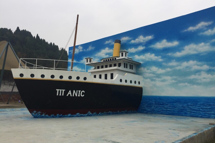 A 30-foot by 30-foot mock-up of the Titanic replica now under construction stands near the construction site in China's Sichuan Province.