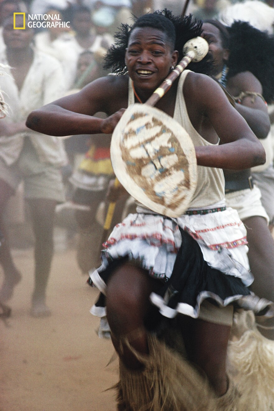 """South African gold miners were """"entranced by thundering drums"""" during """"vigorous tribal dances,"""" a 1962 issue reported."""
