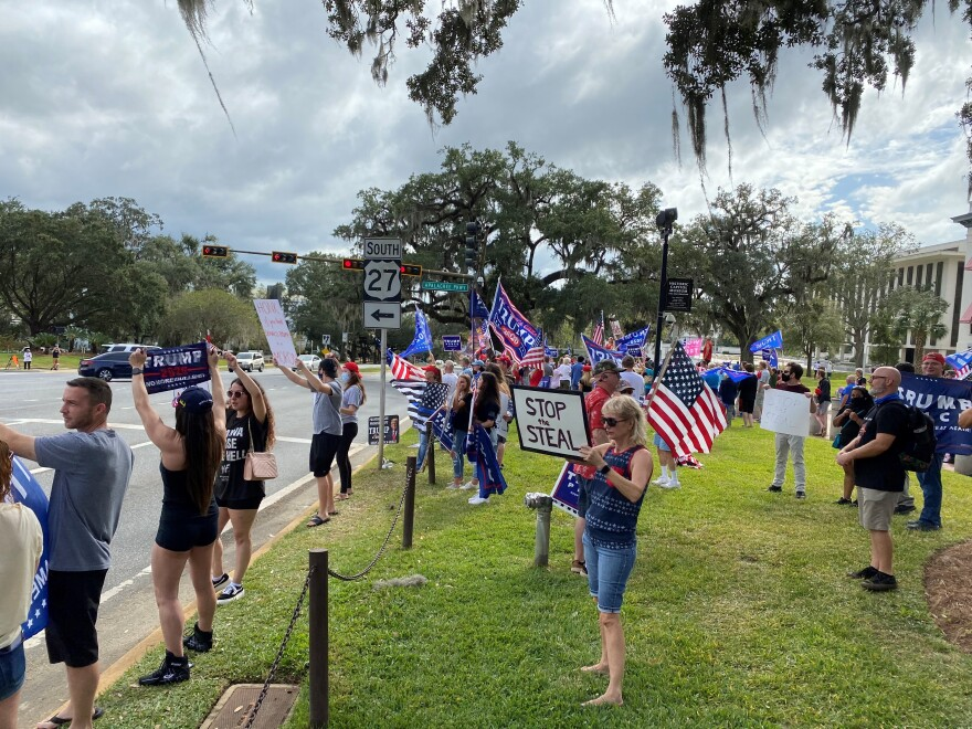 Supporters of President Donald Trump gather in front of Florida's Old Capitol for a peaceful protest on Nov. 7, days after the presidential election.