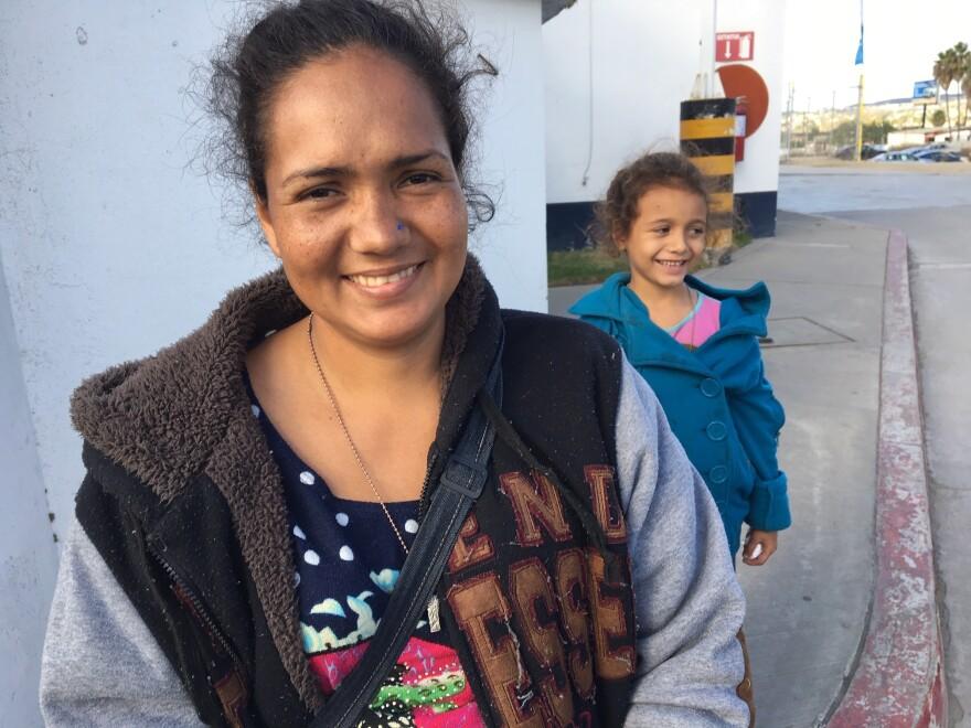 Job-seeking Honduran migrant Claudia Hernandez and her daughter, 6-year-old Angelina Jolie.