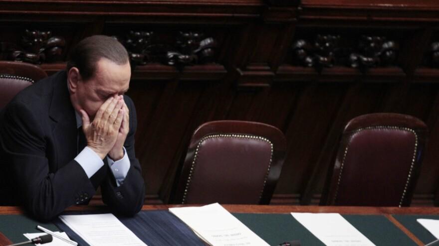 <p>Italian Premier Silvio Berlusconi sat in the lower chamber during today's confidence vote. </p>
