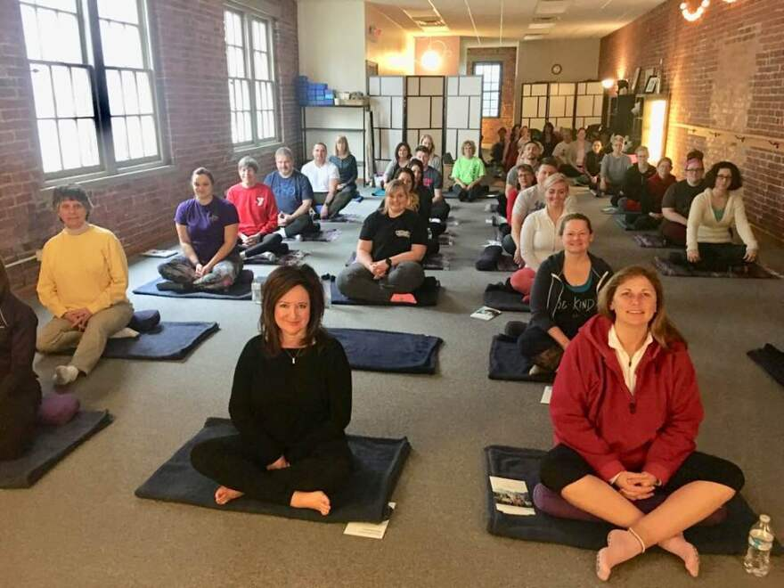 Heartfulness Meditation at Amanda's Balance yoga studio in Piqua. Forty new seekers participating in the six weeks Heartful Living Class.