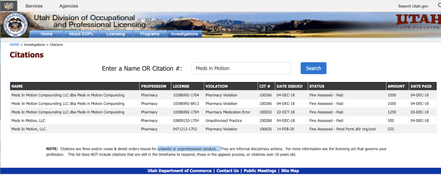 Screenshot of Meds in Motion citations outlined in story.
