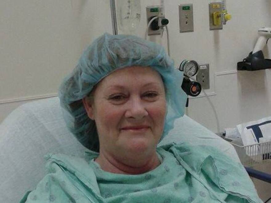 After she experienced bladder problems, Mechel Keel of Owosso, Mich., had flexible mesh implanted. But the mesh hardened inside her, causing pain and infections. In this 2015 photo, she is awaiting surgery to remove parts of the failed mesh.