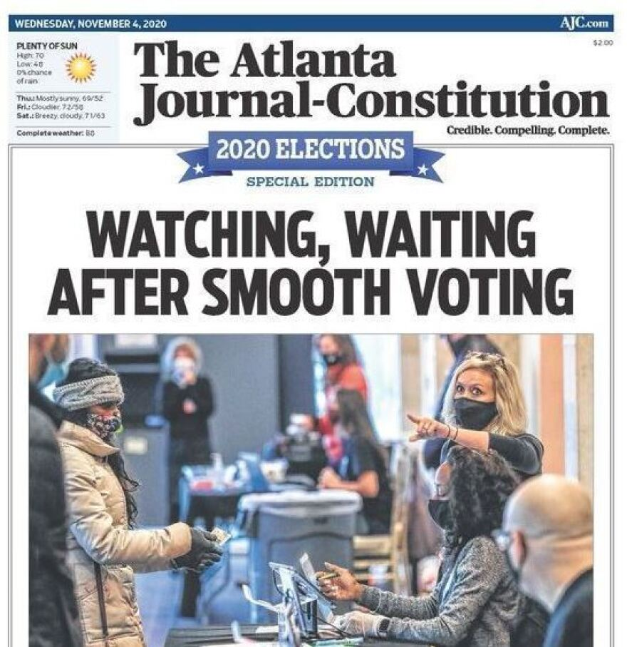 The Atlanta Journal-Constitution reported that voting had gone smoothly — but that the race for the White House was going to the wire, and the state's two U.S. Senate races could be headed to runoffs.