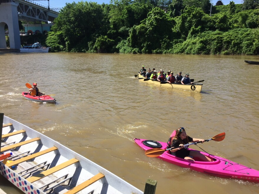 kayakers in the Cuyahoga River