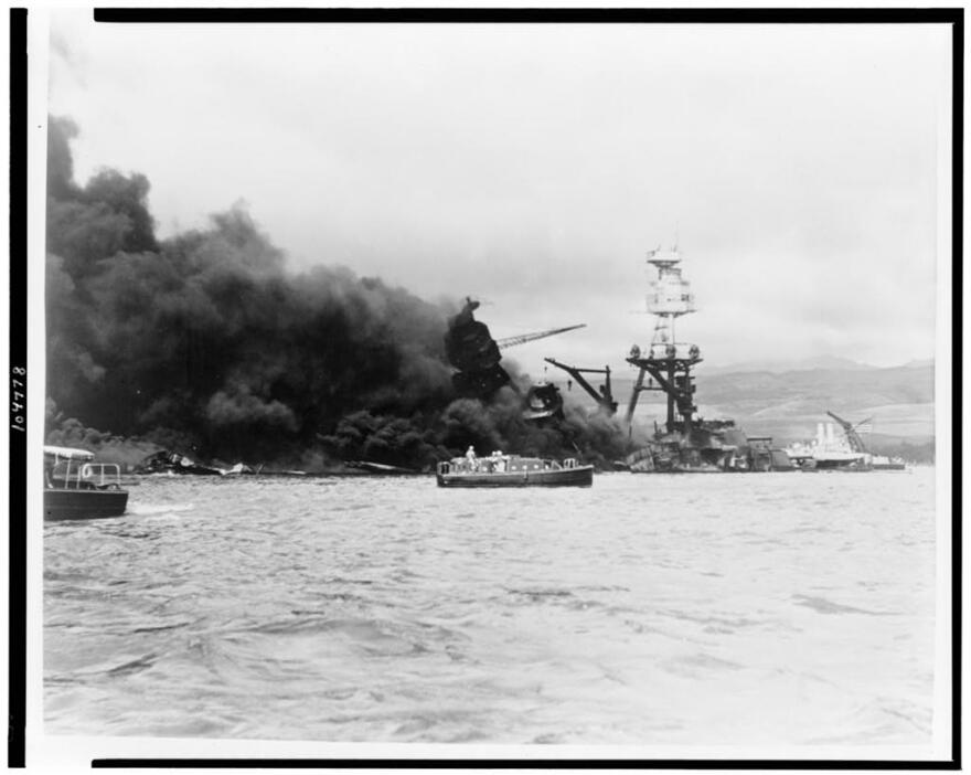 Picture of USS Arizona on fire.