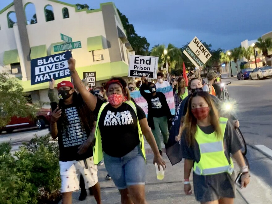 Black Lives Matter Pasco County activists protest in downtown New Port Richey.