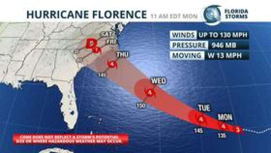The official advisory and forecast for Hurricane Florence as of 11 am Monday.
