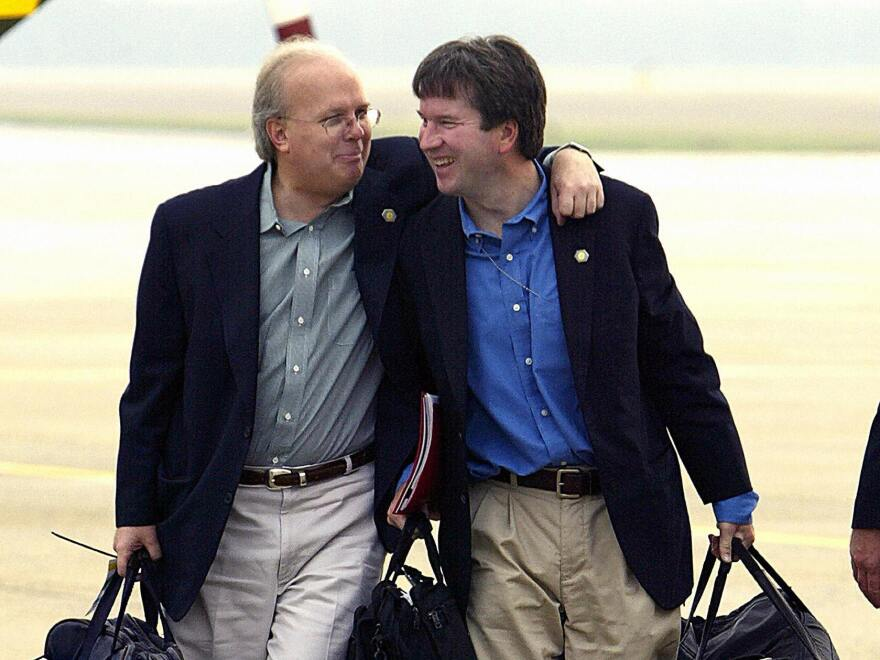 Presidential adviser Karl Rove (left) with Kavanaugh in 2004. Kavanaugh was staff secretary in the White House at the time.