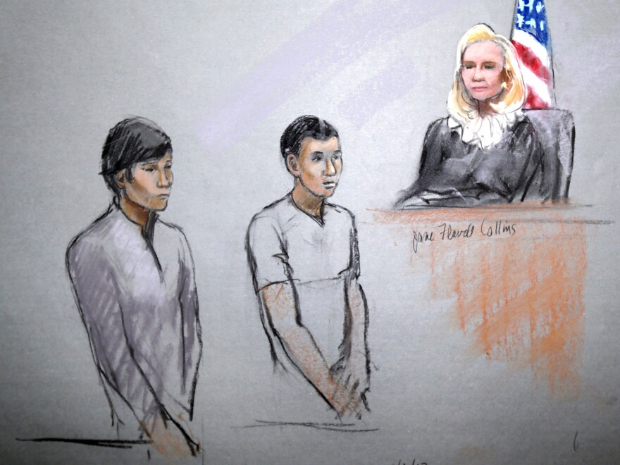 A courtroom sketch shows defendants Dias Kadyrbayev and Azamat Tazhayakov at the Moakley Federal Courthouse in Boston on May 1.