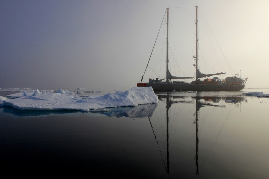 The Tara expedition spent three years sailing around the world on this 110-foot schooner. Here, it is seen in the Arctic.