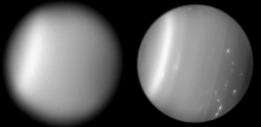 Adaptive optics technology sharpens images by changing the shape of telescope mirrors up to 1,000 times per second. Here, the planet Uranus is seen without (left) and with adaptive optics.