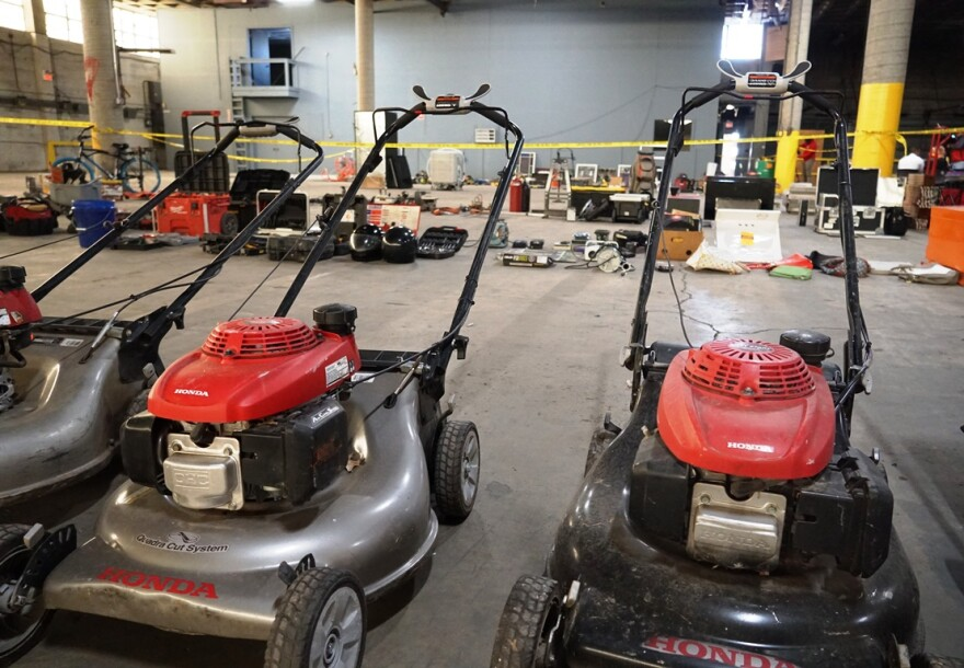 Items stolen from properties being rehabbed in south St. Louis and St. Louis County sit in a city-owned warehouse on Dec. 23, 2019. Police say they recovered more than 800 items stolen over the last year.