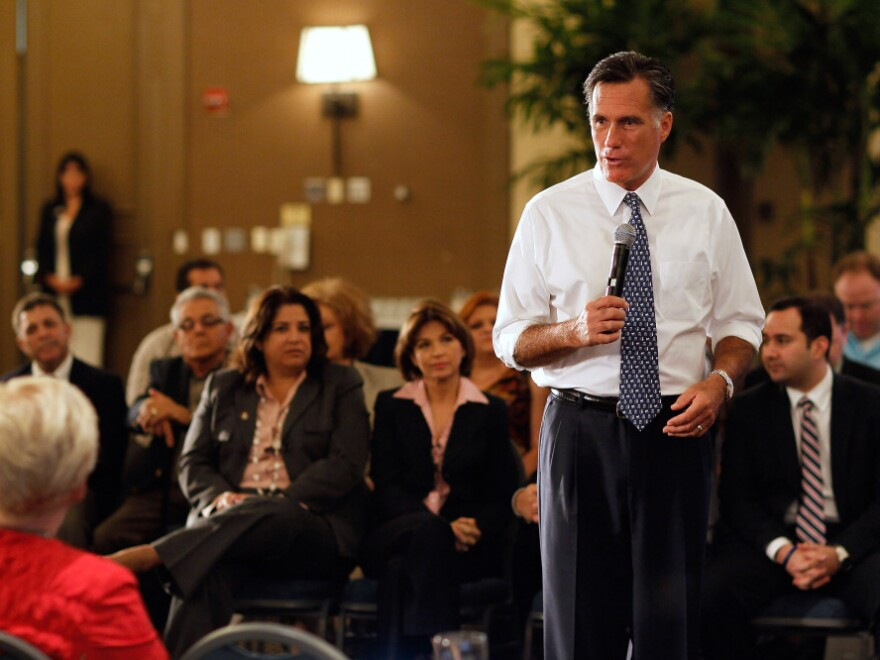Republican presidential candidate Mitt Romney speaks during a town hall meeting in Miami on Wednesday.