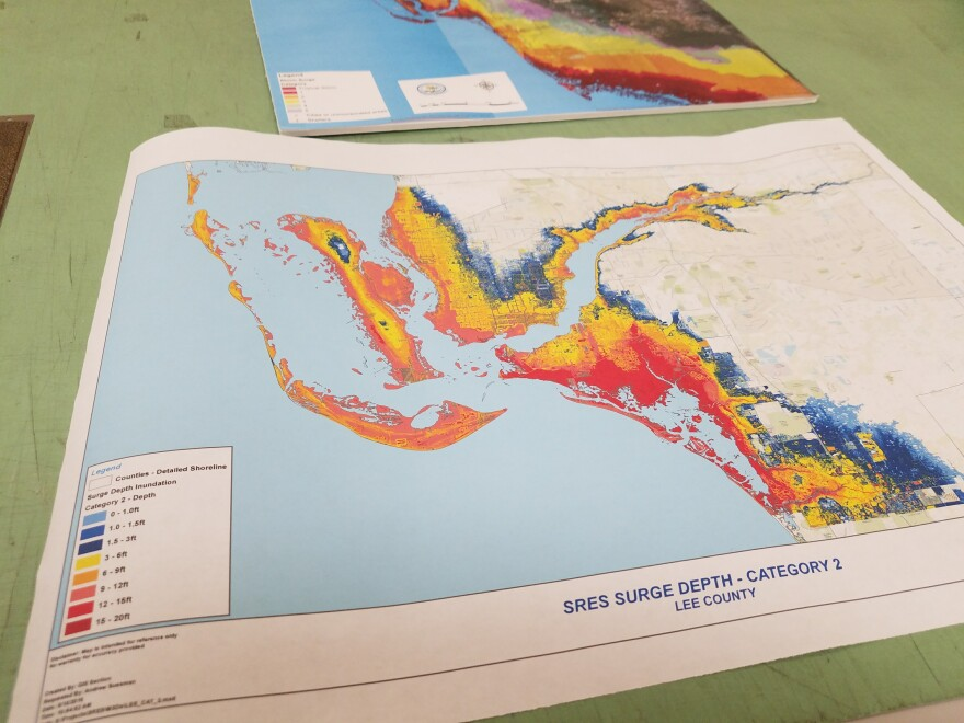 A storm surge map from the Southwest Florida Regional Planning Council.