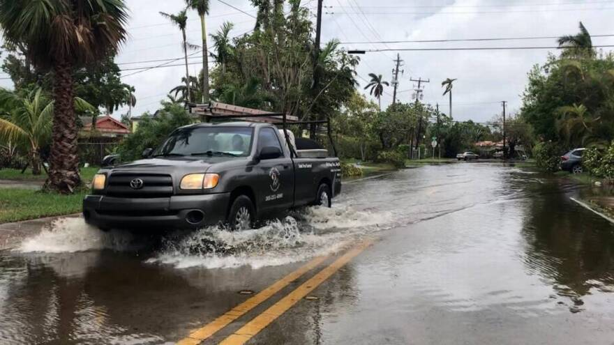King tide brought high waters flooding several low-lying streets on Normandy Isle in North Beach on Oct. 5, 2017.