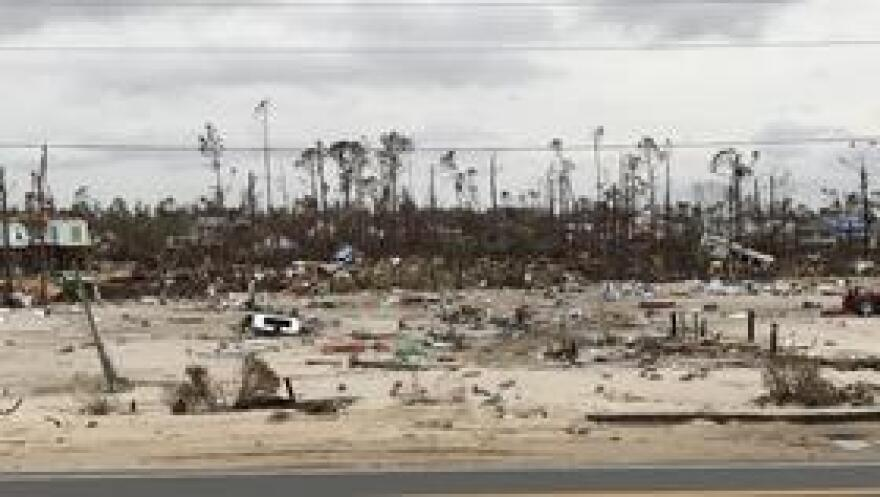 Storm surge damage from Hurricane Michael in 2018.