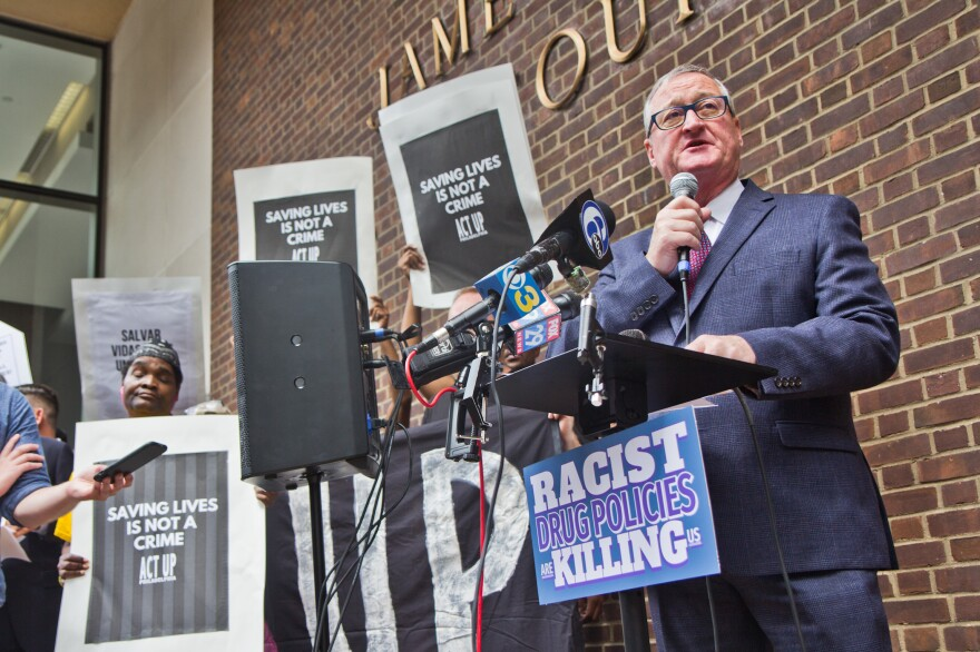 Philadelphia Mayor Jim Kenney spoke Thursday in support of the Safehouse injection site to reduce the number of deadly overdoses in Philadelphia. More than 1,100 people died of overdoses in the city in 2018 — an average of three people a day.