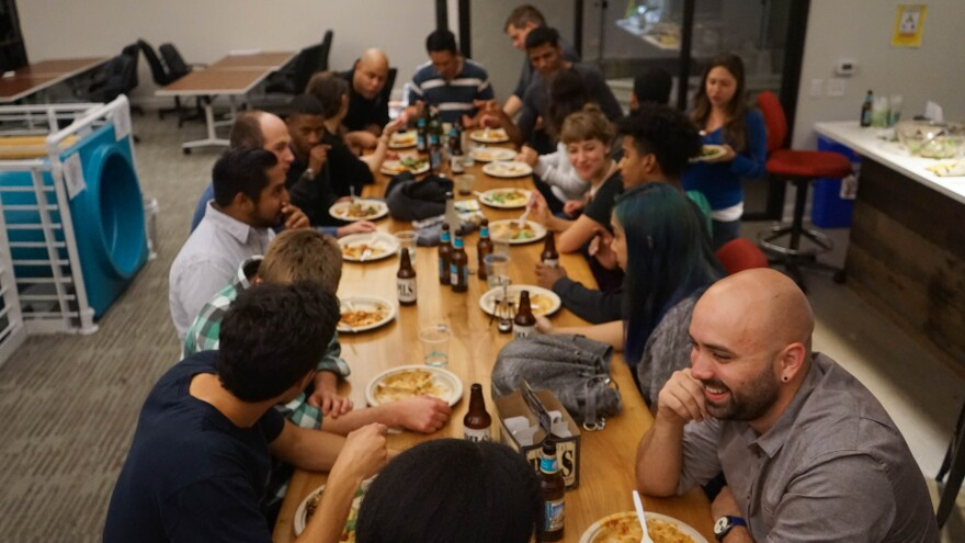 A recent Wednesday community dinner at Clef, a data security startup in Oakland.