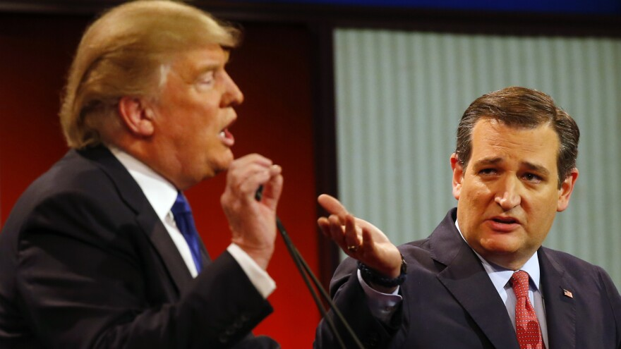 Donald Trump and Ted Cruz argue a point during a Republican presidential primary debate in Detroit earlier this month.