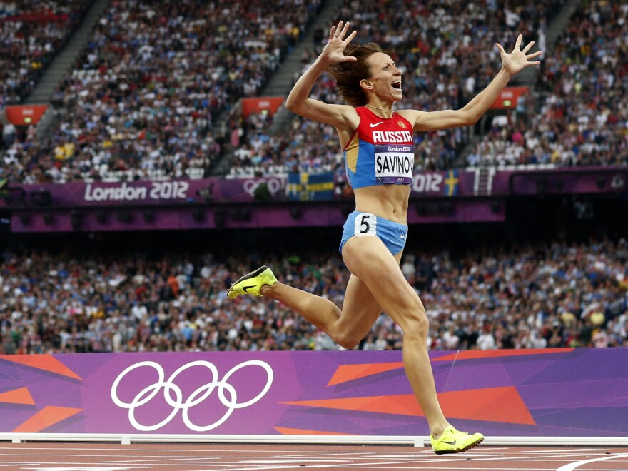 Russia's Mariya Savinova won gold in the 800-meter final at the 2012 Olympics in London. A new report ruled that she should never should have competed because her drug test profile showed she was doping.<strong></strong>