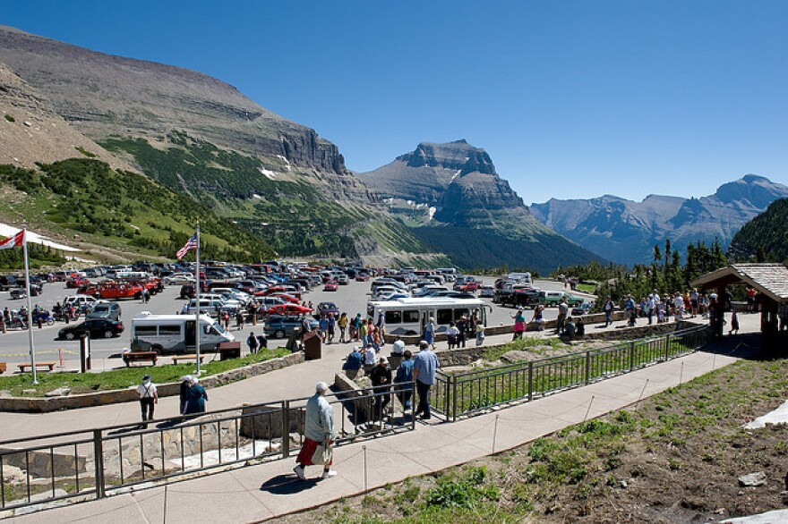 Glacier Park's Logan Pass Visitor Center on a busy summer day.