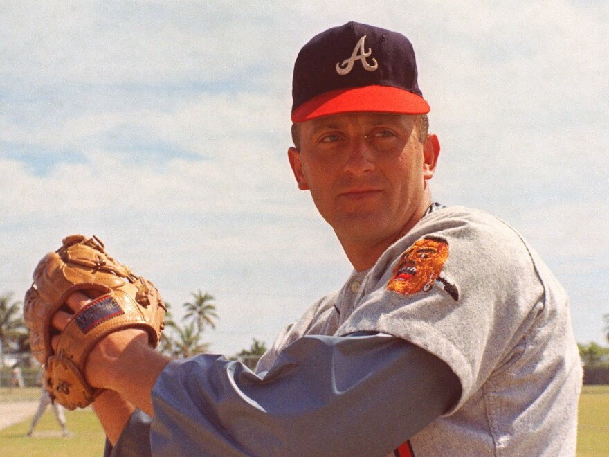 Atlanta Braves pitcher Phil Niekro is seen in a 1968 photo. The Hall of Fame knuckleballer died at 81 years old after a battle with cancer, his former team announced Sunday.