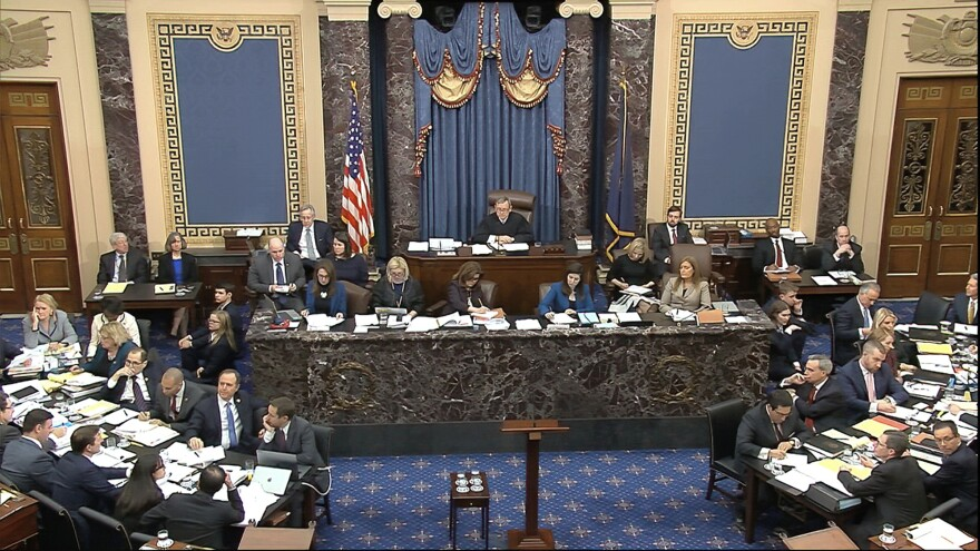 In this image from video, presiding officer Chief Justice of the United States John Roberts listens during the impeachment trial against President Donald Trump in the Senate at the U.S. Capitol in Washington, Thursday, Jan. 30 2020.